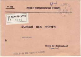 ESC De Service  PTT Recom. Paris Tri Nord  Cad Paris Gare Du Nord 1985 -> Pays Bas - 1961-....