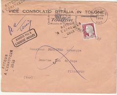 ESC 1964 Vice Consulat D'Italie Toulon  ,RAE 2848, Annulation Linéaire Pierrefeu Var - Postmark Collection (Covers)