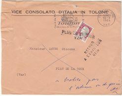 ESC 1964 Vice Consulat D'Italie Toulon  ,RAE 6170, Annulation Linéaire Plan De La Tour Var - Postmark Collection (Covers)