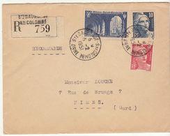 ESC Recommandée 50F St Gauborde Ste Colombe Orne Bel Affranchissement 1951 - Marcophilie (Lettres)