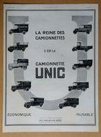 1924 Automobiles UNIC Puteaux La Reine Des Camionnettes C'est La Camionnette UNIC - Publicité - Werbung