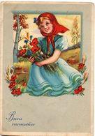 Buon Onomastico - Bambina Con Tulipani - Flores, Plantas & Arboles