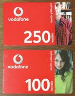 TURQUIE VODAFONE FEMME ET HOMME LOT DE 2 RECHARGES GSM PRÉPAYÉE TELE CARD PHONE CARD TELECARTE - Turchia