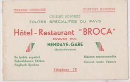 Hendaye, Hôtel Restaurant Broca, Carte De Visite. - Visiting Cards