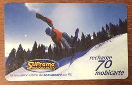 SUPREME SNOWBOARDING MOBICARTE 70 RECHARGE GSM PRÉPAYÉE PHONECARD CARD TÉLÉCARTE - Frankreich