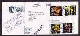 Venezuela: Registered Express Cover To Netherlands, 4 Stamps, Orchid Flower, Flowers, Rare Real Use (3 Stamps Damaged) - Venezuela