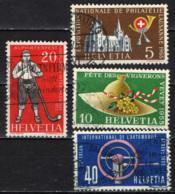 SVIZZERA - 1955 - SERIE DI PROPAGANDA: ESPOSIZIONE FILATELIA, FESTA DEI VIGNAIOLI, CORNO DELLE ALPI E SALONE AUTO-USATI - Usados