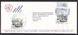 Venezuela: Cover To Netherlands, 1987, 3 Stamps, National Guard, Military, Helicopter, Motorcycle (1 Stamp Damaged) - Venezuela