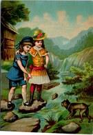 CHROMO La Traversée Du Ruisseau 18.5X13cm Vers 1886 Sans Marque - Chromos