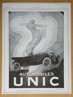 1925 Automobiles UNIC D'après Henry Le Monnier (Puteaux - Art Déco - Création Des Affiches Lutétia) - Publicité - Werbung