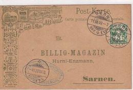 "Sarnen - Billig-Magazin Hurni-Enzmann - Int.Bahnstempel ""Chemin De Fer Du Jura-Simplon"" - 1902           (P-252-00401) - Pubblicitari"