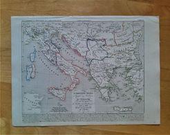 L'empire Grec à L'époque Des Croisades, L'Italie Sous Le Règne De Frédéric 1er Barberousse 1125 à 1200 Par A.Houzé - Geographische Kaarten