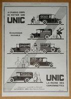 1926 UNIC A Chaque Corps De Métier... D'après Roumy (Puteaux - Automobiles) - Hermès Sellier - Radiola - Publicité - Werbung