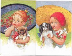 Lot 2 Cpa - Illustrations Signées ? - Deux Fillettes Aux Ombrelles Avec Petits Chiens - Viennoise B.K.W.I - Fancy Cards