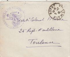 Lettre FM Cachet Ministère De La Guerre ROYAT Puy De Dôme 2/12/1942 à Lt Col Massie Toulouse Haute Garonne - Marcophilie (Lettres)