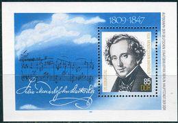 DDR - Mi Block 76 = 2852 - ** Postfrisch - 85Pf  Felix Mendelssohn Bartholdy - Bloques