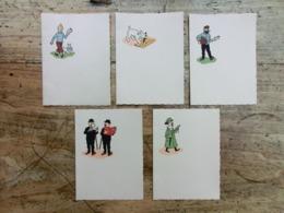 Papier à Lettre, Tintin, Bande Dessinée, BD, Hergé, Années 40-50?, Lot De 5 Feuillets - Libros, Revistas, Cómics