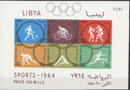 Libya, 1964, Olympic Summer Games Tokyo, Sports, MNH Imperforated, Michel Block 8B - Libye