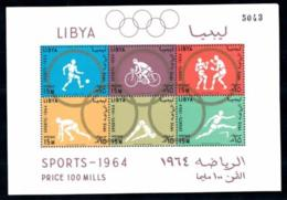 Libya, 1964, Olympic Summer Games Tokyo, Sports, MNH, Michel Block 8A - Libye