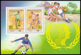 Libya, 1985, International Youth Year, Football, Basketball, MNH, Michel Block 95A - Libye