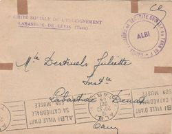 Lettre Franchise Cachet Griffe Sécurité Sociale Enseignement LABASTIDE DE LEVIS Tarn1949 + Albi Pour Labastide Dénat - Postmark Collection (Covers)