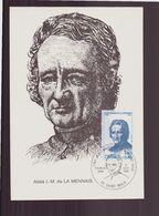 """France, Carte Maximum Du 6 Septembre 1980 à Saint-Malo """" Abbé J.M De La Mennais """" - Cartas Máxima"""