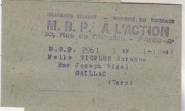 Bande Journal Messageries Tromas Dispensé Timbrage MRP A L ACTION Paris 1/1/1947 Pour Gaillac Tarn - 1921-1960: Période Moderne