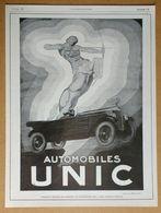 1926 Automobiles UNIC D'après Henry Le Monnier (Puteaux-Art Déco-Création Des Affiches Lutétia)-Pneu Ducasble-Publicité - Werbung