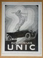 1926 Automobiles UNIC D'après Henry Le Monnier (Puteaux-Art Déco-Création Des Affiches Lutétia) - Flamme Bleue-Publicité - Werbung