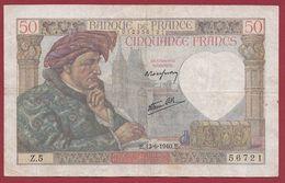 """50 Francs """"Jacques Coeur"""" Du 13/06/1940.E----TB---ALPH.Z.5 - 1871-1952 Antiguos Francos Circulantes En El XX Siglo"""
