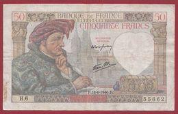 """50 Francs """"Jacques Coeur"""" Du 13/06/1940.F----TB---ALPH.H.6 - 50 F 1940-1942 ''Jacques Coeur''"""