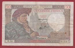"50 Francs ""Jacques Coeur"" Du 05/09/1940.B----TB---ALPH.F.14 - 50 F 1940-1942 ''Jacques Coeur''"