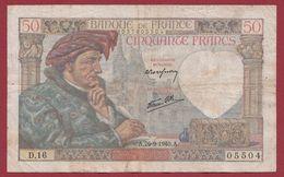 """50 Francs """"Jacques Coeur"""" Du 26/09/1940.A----B---ALPH.D.16 - 1871-1952 Antiguos Francos Circulantes En El XX Siglo"""