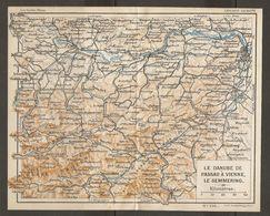 CARTE PLAN 1937 AUTRICHE LE DANUBE DE PASSAU à VIENNE - KARTE 1937 ÖSTERREICH DIE DANUBE VON PASSAU IN WIEN - Topographische Karten