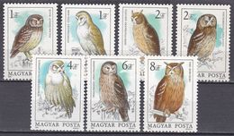 Tr_ Ungarn 1984 - Mi.Nr. 3725 - 3731 - Postfrisch MNH - Tiere Animals Vögel Birds Eulen Owls - Eulenvögel