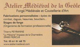 Atelier Médiéval De La Géôle - Forge Médiévale Et Coutellerie D'Art - Mercus - France - Visiting Cards