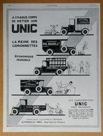1927 UNIC A Chaque Corps De Métier... (d'après Roumy - Puteaux - Automobiles - Camionnettes) - Chapeau Elina - Publicité - Werbung
