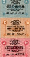 ITALIA -BUONO DI CASSA VENETA DEI PRESTITI-1918-5,10,50 CENTESIMI P-M1,M2,M-3   AUNC - [ 5] Schatzamt