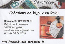 Bijoux Carbassou - Créations De Bijoux En Raku - 66720 Carbassou - France - Visiting Cards
