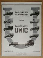 1927 Automobiles UNIC Puteaux La Reine Des Camionnettes - Publicité - Werbung