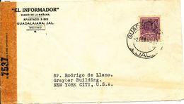 Mexico Censored Cover Sent To USA 2-2-1943 Single Franked - Mexique
