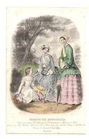 Gravure De Deux Dames Et Une Fillette Dans Un Parc En 1849 - Magasin Des Demoiselles - Stampe & Incisioni