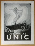 1928 Automobiles UNIC D'après Henry Le Monnier (Puteaux-Art Déco-Création Des Affiches Lutétia) - Frigidaire - Publicité - Werbung