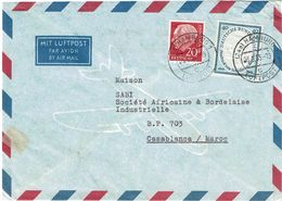 CTN63/ETR - ALLEMAGNE LETTRE AVION D'AOÛT 1955 POUR LE MAROC - [7] Federal Republic