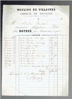 FACTURE 1852 MOULIN DE VILLAINE COMMUNE FONTENAY SUR EURE M. BOYEUX POUR MOULIN ISAMBERT A MIGNIERES FARINE PAIN BLE - 1800 – 1899