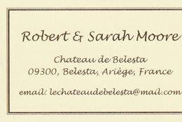 Château De Belesta - Robert & Sarah Moore - 09300 Belesta - France - Visiting Cards