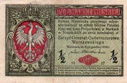 POLAND 1/2 MARKI 1916  P-7  AUNC - Pologne