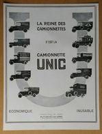 1928 Automobiles UNIC Puteaux La Reine Des Camionnettes - Cricket La Casquette Du Sportsman - Publicité - Werbung