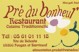 Pré Du Bonheur- Restaurant - 09300 Fougax Et Barrineuf - France - Visiting Cards
