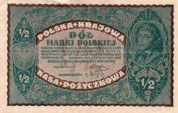 POLAND 1/2 MARKI 1920  P-30  XF++ - Pologne